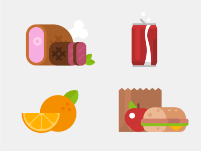 Illustrated Exercises - Food lunch orange soda beef ham meat flat illustration