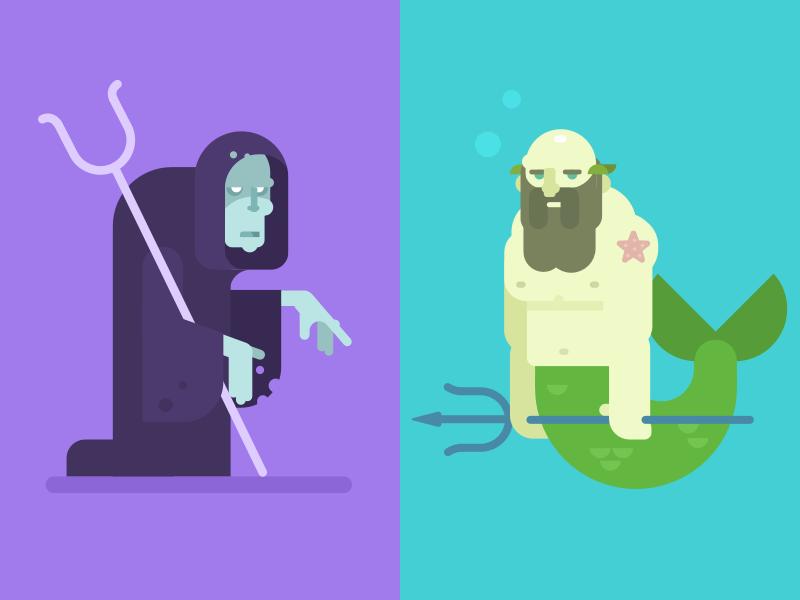 Hades and Poseidon poseidon hades gods greek character design illustration