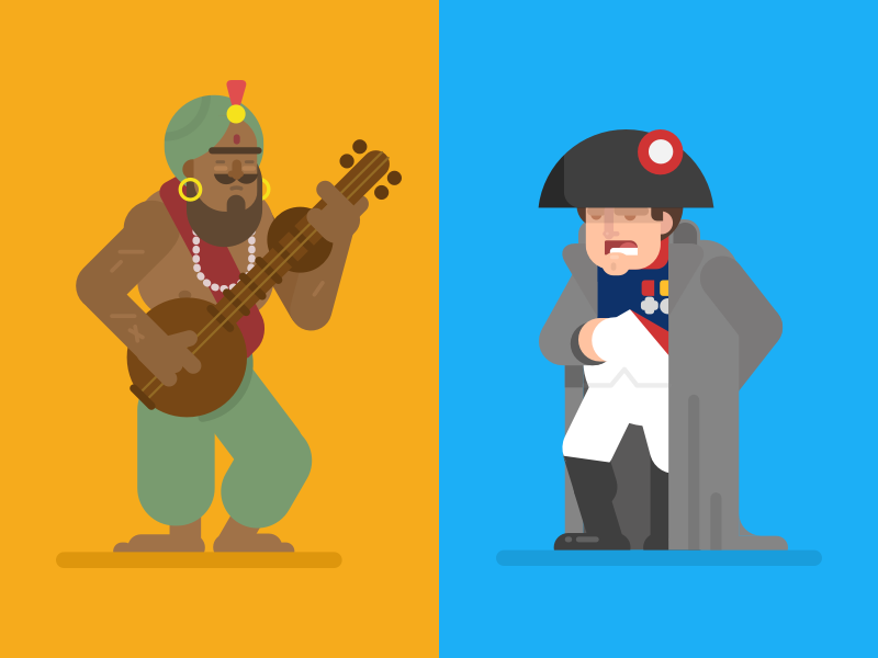 Samudragupta and Napoleon napoleon leaders conquerors character design illustration