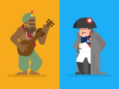 Samudragupta and Napoleon napoleon leaders conquerors character design illustration