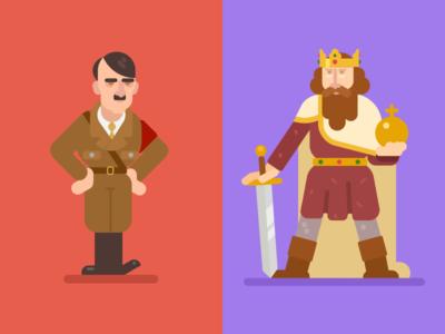 Hitler and Charlemagne charlemagne king hitler leaders conquerors character design illustration