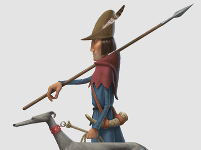 The Fox Hunt greyhound hunter character design medieval illustration