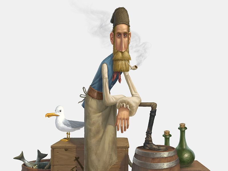 On the Docks character design illustration east india company ship docks colonial