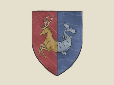 Hartman Coat of Arms coat of arms monster sea hart stag illustration