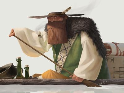 Fur Trader of Hudson's Bay fur trade character design beard boat illustration