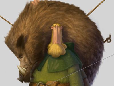 Boar Hunter medieval hunter boar character design illustration