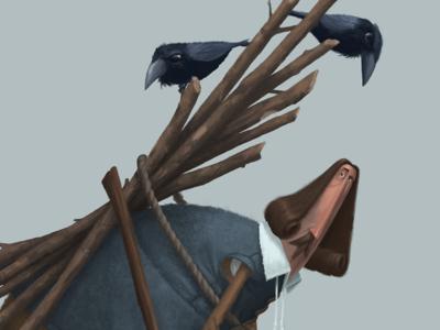 Bad Omen firewood pilgrim character design illustration