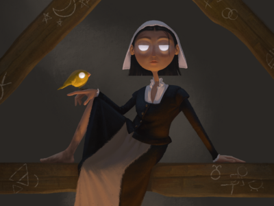 Witch with Familiar canary salem witch character design illustration
