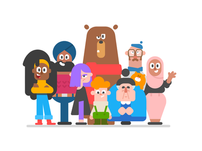 Adding some character to Duolingo cat bear people culture flat illustration character design