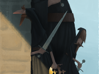 Stealing the Crown lighting sword crown shadow thief medieval illustration character design