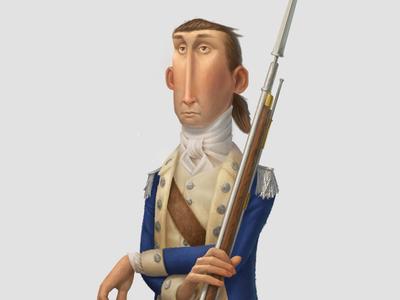Dragoon soldier continental war revolutionary america illustration character design
