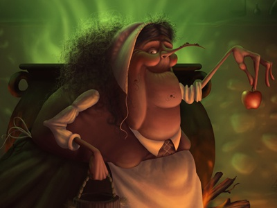 Witch witch halloween apple cauldron poison cottage puritan character design ilustration