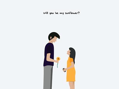 will you be my sunflower sunflower? design clean character designs vector creative  design minimalist flat illustration minimal