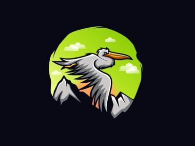 FLYING PELICAN illustrators sale art illustrations cloud mountain ameirca pelican illustrator logoplace thedesignmate logoawesome design vector illustration dribble ideas logo instagram logoinspirations
