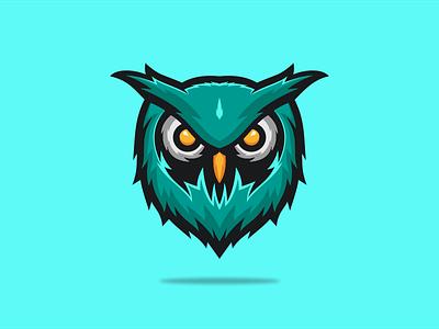 OWL HEAD flat colorful mascot mark icon company general character head owl zerologicstudio branding design vector illustration ideas logo dribble logoinspirations instagram