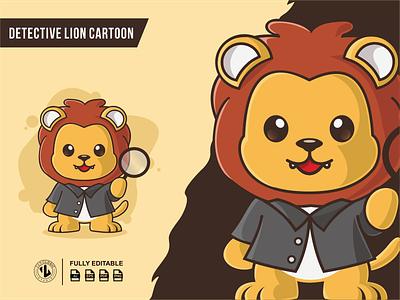 Detective Lion Cartoon Illustrations zerologicstudio king detective cute baby character lion ui branding design vector illustration logo ideas dribble logoinspirations instagram