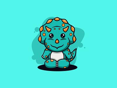 Baby Triceratops mark icon cartoon mascot triceratops character zerologicstudio design vector ideas illustration dribble logoinspirations logo instagram