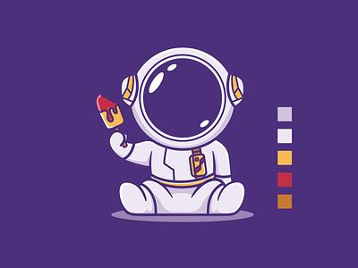 Astronaut Ice Cream cream ice character mascot cartoon astronaut ui branding design vector illustration ideas dribble logoinspirations logo instagram zerologicstudio