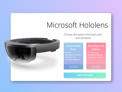 Daily UI #012 - Single Product hololens microsoft colors shop product single ui gradient daily app