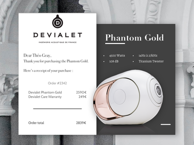 Daily UI #017 - Email Receipt web typography order gold grey design devialet receipt email interface dailyui