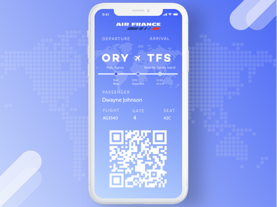 Daily UI #024 - Boarding Pass qrcode travel plane pass boarding mobile interface gradient blue design dailyui application