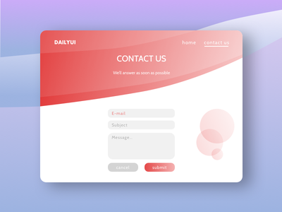 Daily UI #028 - Contact Us ui design web dailyui bubbles red gradient form us contact