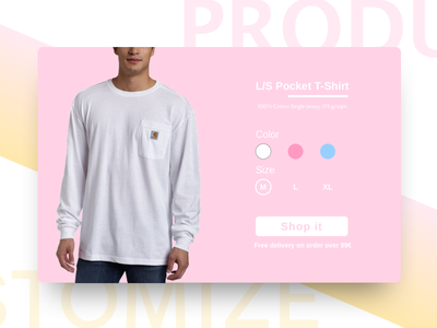 Daily UI #033 - Customize product buy interface design ui shopit shop dailyui yellow pink product customize