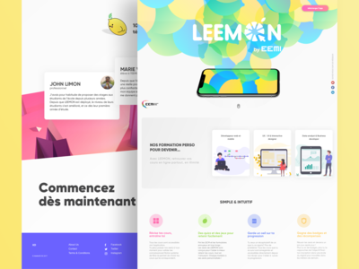 Leemon E-Learning App Landing page