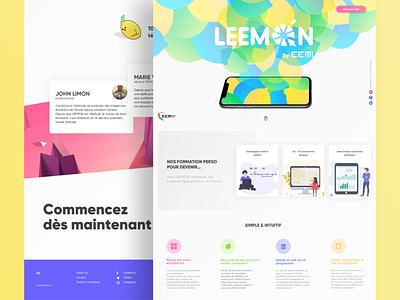 Leemon E-Learning App Landing page colors application gradient interface website lime lemon colorful uiux ui design landingpage app e-learning