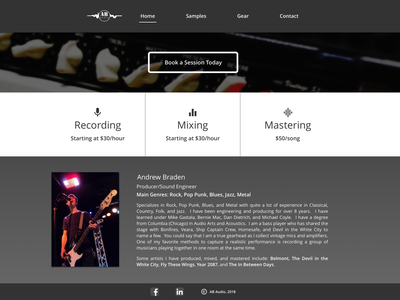Audio Engineering Landing Page sound producer conversions call to action cta mastering mixing recording engineering music audio