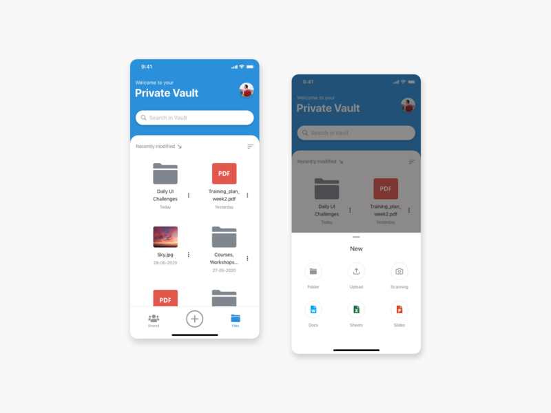 Daily UI #031 - File Upload private vault files upload design clean ux challenge ui dailyui daily