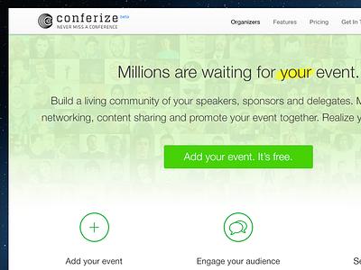 Conferize Organizer Site conferize green uifaces cta event icons helvetica neue