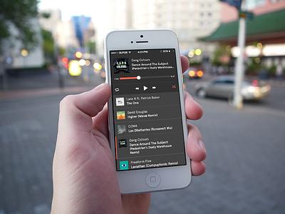 Fortyfour.co for iOS music player music player play pause shuffle random dark grey progress ios iphone