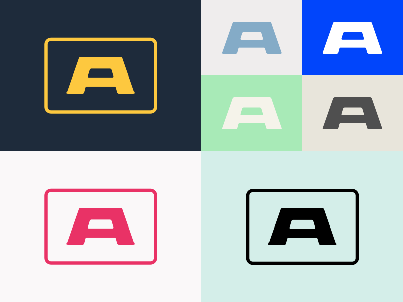 """A"" mark mark a wide custom logo letter yellow pink blue white green"