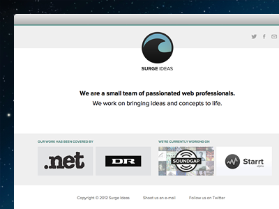 Surge Ideas website simple clean minimal blue teal light grey proxima nova surge ideas wave icons