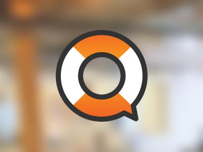 Exploring ideas logo orange white lifebuoy communication speech bubble idea helpdesk