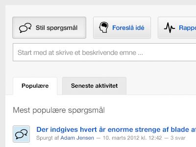 Stil spørgsmål question spørgsmål icons ideas idé popular faq helpdesk button buttons input grey blue selected