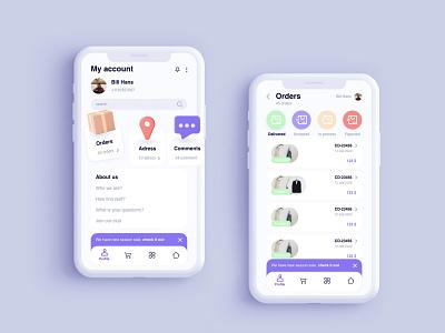 profile for online shopping app ux design ui  ux ui ui design uiux xd design profile online shop app
