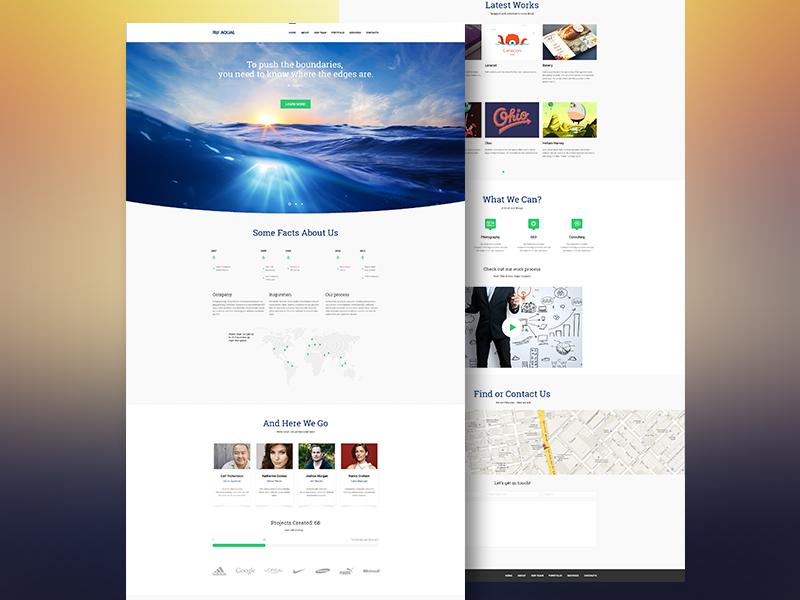 Aqual - Free PSD free template psd site web site wordpress freebie web elements html layout bussiness