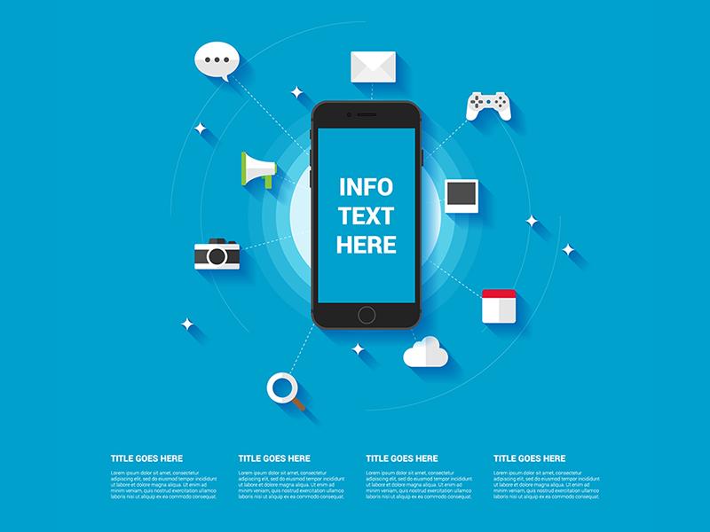 Smartphone infographic template illustration icons app template apple iphone 6 mobile smartphone