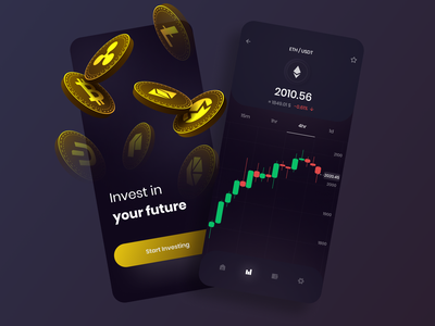 Mobile Cryptocurrency Exchange animation typography marketplace nft token graph app flat 3d coin clean mobile dark ui dark skynick exchange cryptocurrency crypto ux ui