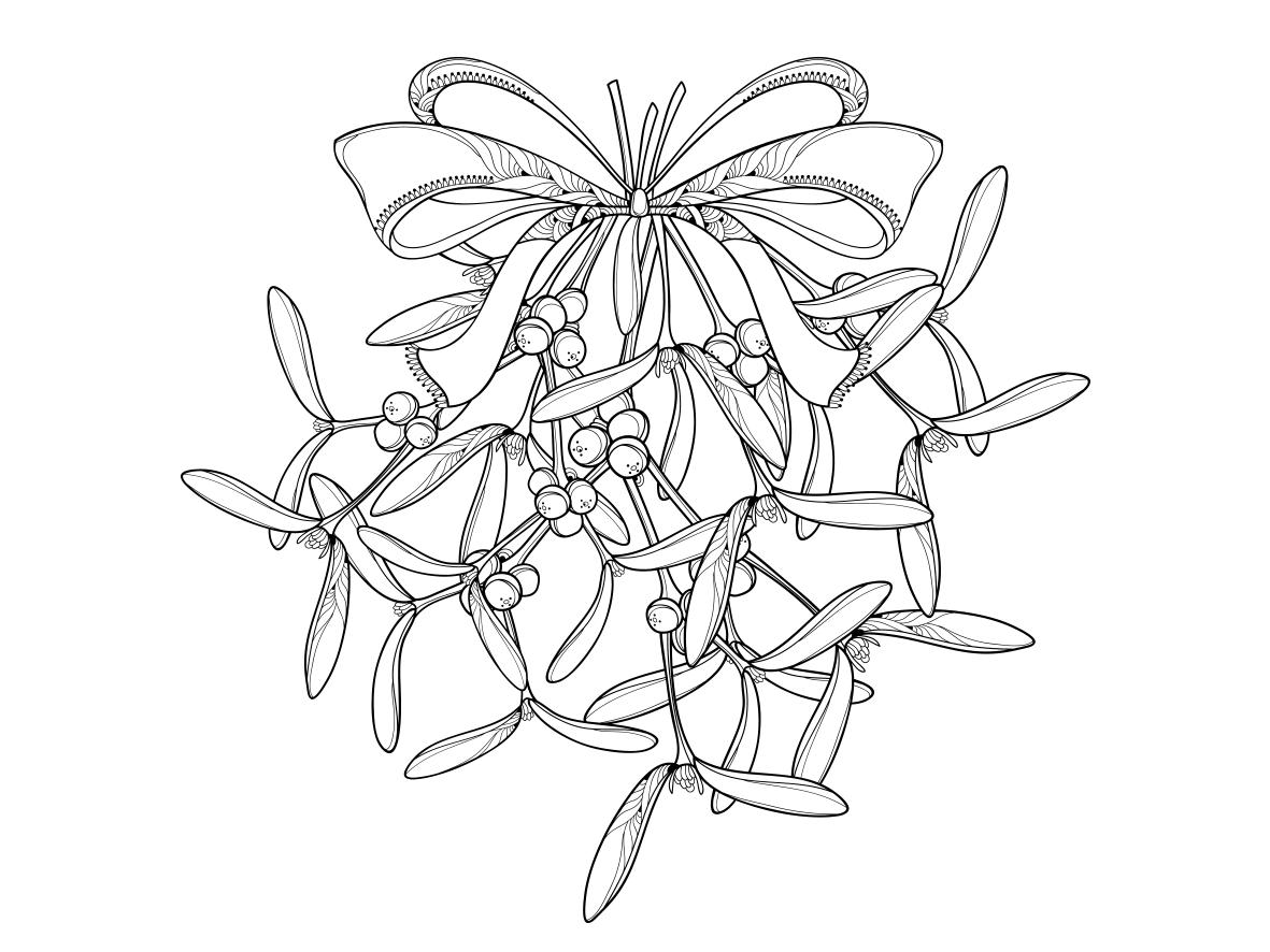 Printable Mistletoe Christmas Coloring Page for Kids #1 – SupplyMe   886x1181