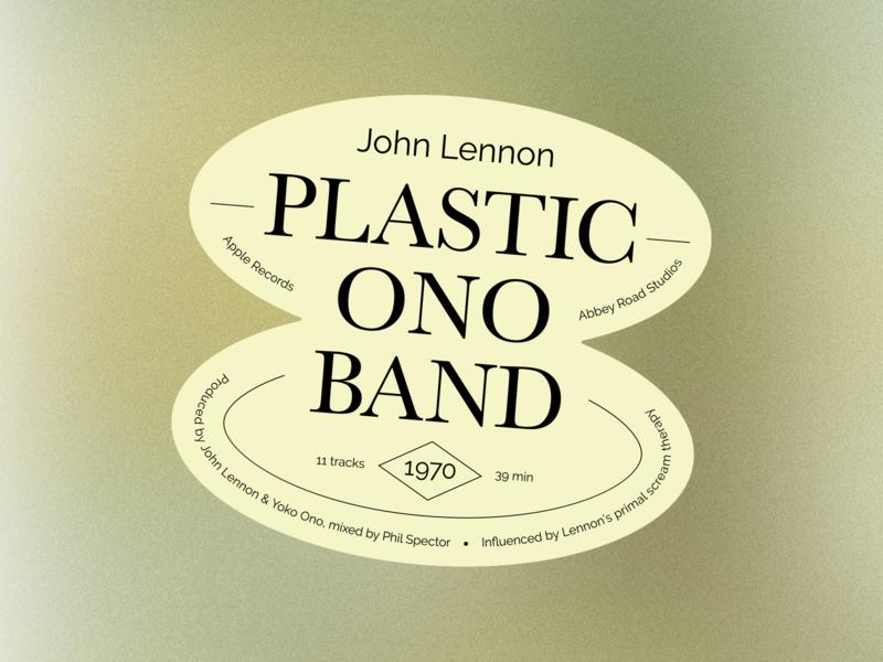 Plastic Ono Band - Record Labels #002 plastic ono band john lennon album art music label design label sticker design sticker layout typography design typographic type layout type design typography