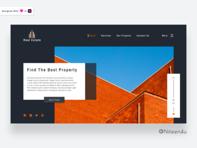 Real Estate- Landing Page (Dark Theme)