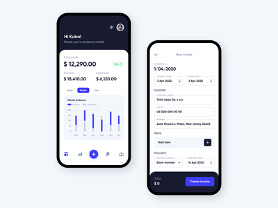Invoicing app invoicing invoices product design app ios ux ui trending forms cash creating charts stats invoice clean