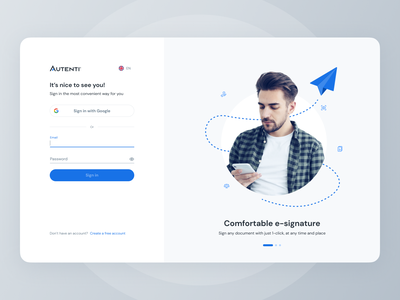 Autenti Web App - Sign In data form sign up minimal trending illustration inputs forms login simple clean ux ui autenti welcome page onboarding sign in