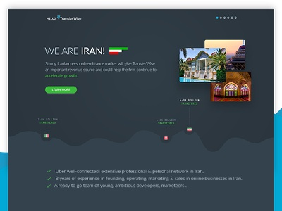 TransferWise — Landing Page country flag chart graph transfer money onepage iran uidesign landing ux ui