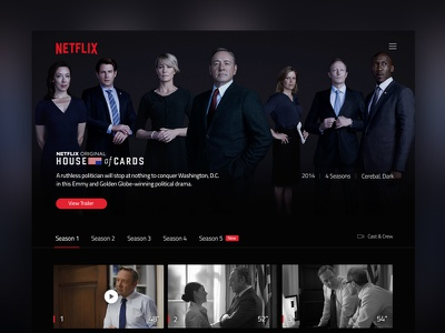 Netflix TV Show Page – House of Cards interface website uidesign player houseofcards tvshow series movie concept netflix ux ui
