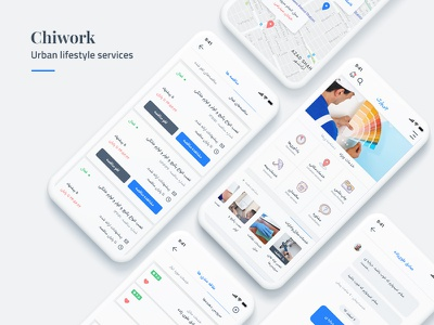 Chiwork – Urban lifestyle services Mobile App Design chiwork service clean interface uidesign app mobileapp ux ui
