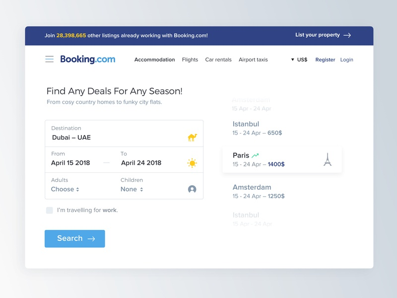 Booking.com – Redesigned & Personalized Search Section usability ux uidesign dubai search travel booking booking.com